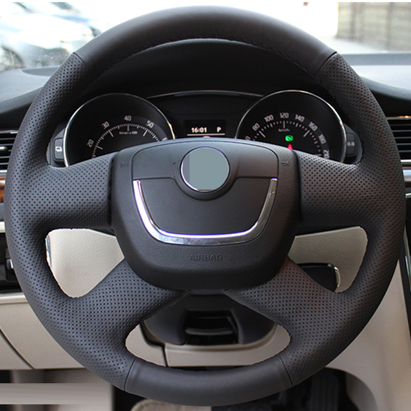 Hand-stitched Black Steering Wheel Cover for Skoda Octavia Superb 2012 Fabia Skoda Octavia a 5 a5 2012 2013 Yeti 2009-2013 ownsun innovative super cob fog light angel eye bumper cover for skoda fabia scout