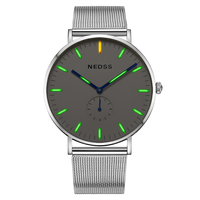 Top brand NEDSS couple watch tritium Mens Watches luminous slim case DW Male Steel functional Quartz Watch Wrist Sport Watch