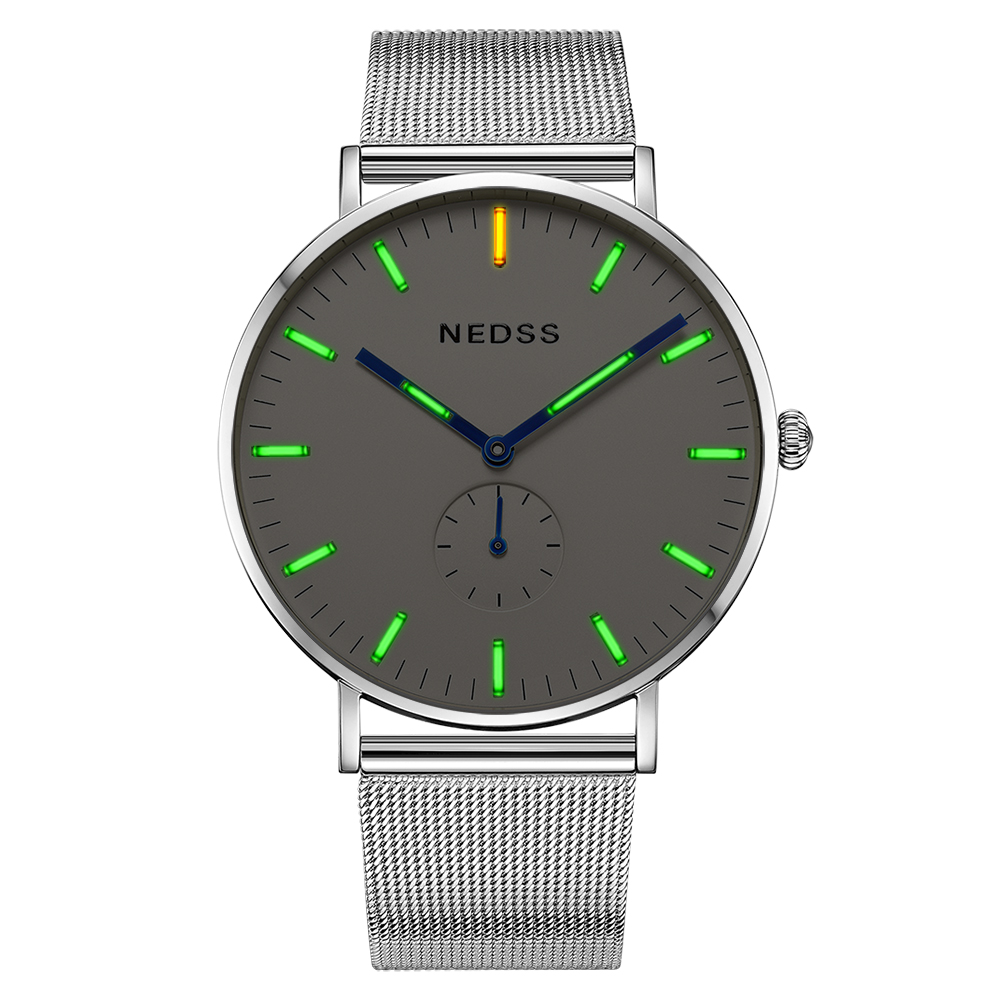 Top brand NEDSS couple watch tritium Mens Watches luminous slim case DW Male Steel functional Quartz Watch Wrist Sport Watch nedss tritium dw styles mens watches top brand luxury men sports watch mesh band steel fashion watches chronograph couple watch