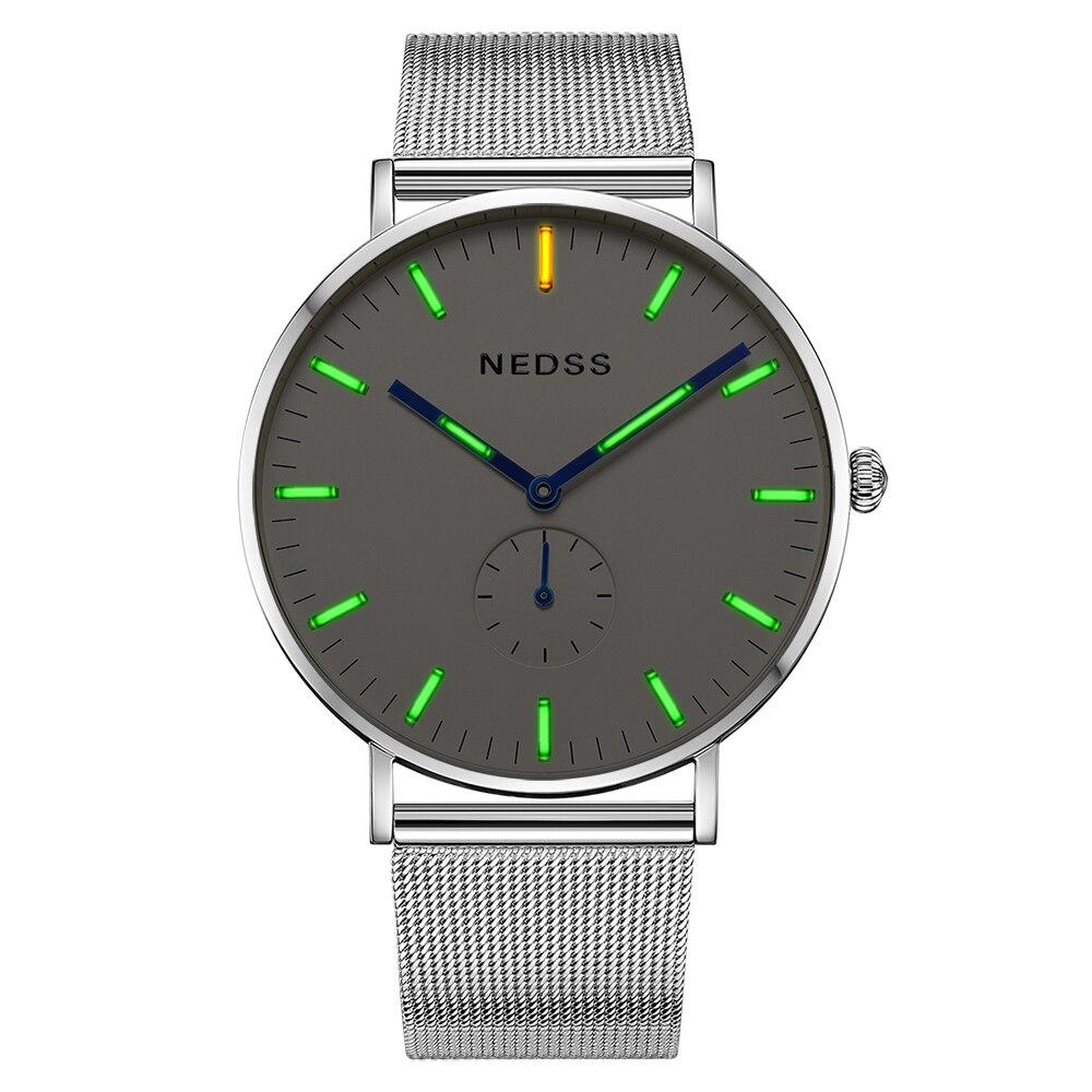 Top marque NEDSS couple montre tritium hommes montres lumineux mince boîtier DW mâle en acier fonctionnel Quartz montre-bracelet Sport