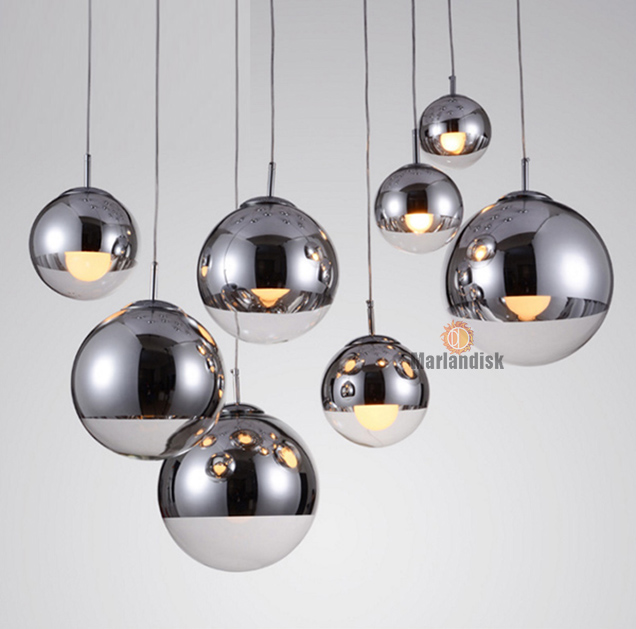 Привлекательный медный/серебристый стеклянный абажур серебристый внутри зеркальный подвесной светильник E27 светодиодный подвесной светильник стеклянный шар лампы для гостиной(DH-50