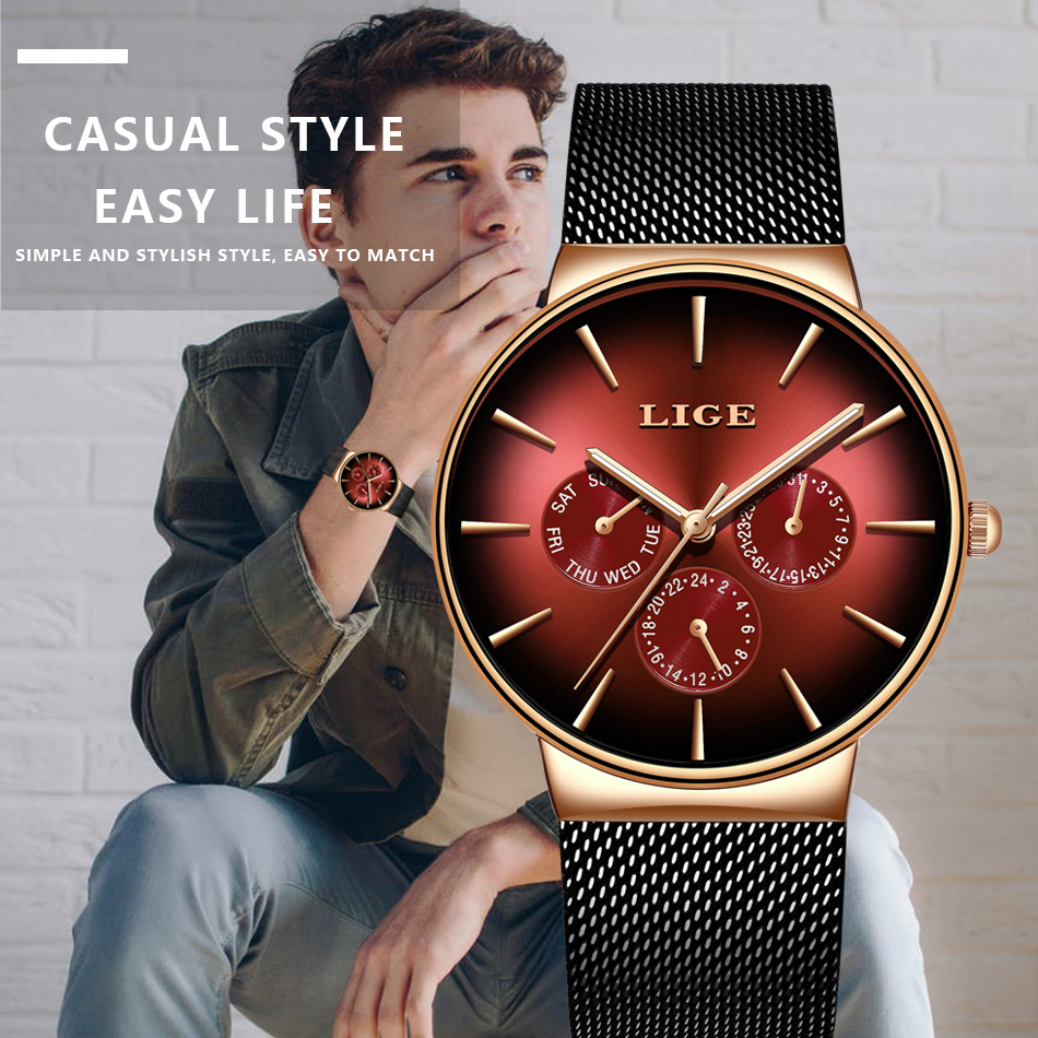 HTB1duGLXA9E3KVjSZFGq6A19XXaB LIGE New Fashion Mens Watches Top Brand Luxury Quartz Watch Men Mesh Steel Waterproof Ultra-thin Wristwatch For Men Sport Clock