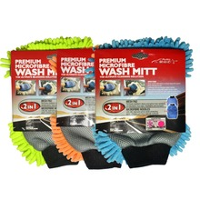 3 Pack Auto Shine 2 IN 1 Microfiber Chenille Car Wash Mitt/Glove Blue Green Orange 3 Colors Available Now Car Cleaning Pad