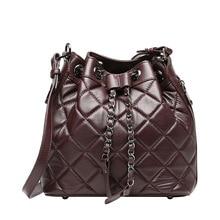 QIANGSHILI Brand Fashion Vintage Chains Plaid Genuine Leather Sheepskin Shoulder Luxury Handbag Women Bags Designer High Quality