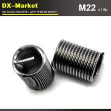 M22* 1.5D* 1,5 P, 10 шт, Тонкая нить, 304 нержавеющая сталь болт вставки для резьбы для восстановления резьбы возвратная пружина вставка для ремня
