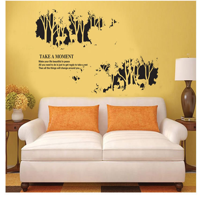 Large Forest Deer Black Wall Stickers Mural Removal Personality Wallpaper  Decals Women Men Adult Home Living Part 77