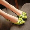Plus Tamaño de los zapatos planos de las mujeres Mocasines Zapatos de Cuero Genuino Pisos Zapatos de Mujer Bowtie punta estrecha Casual Shoes sapato feminino