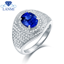 Luxury Design Natural Blue Sapphire Wedding Rings Solid 14K White Gold for Women Diamond Engagement Jewelry Wholesale