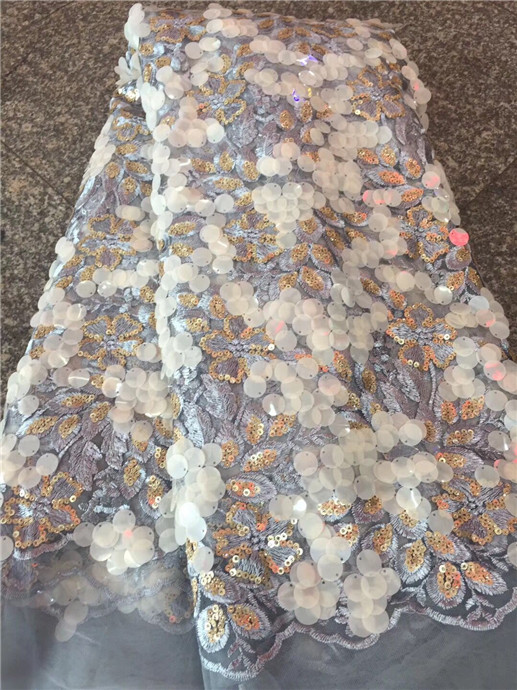 High Quality 2018 Tulle Sequins African Lace Fabric Guipure Embroidered French Net Nigerian Lace Fabrics for