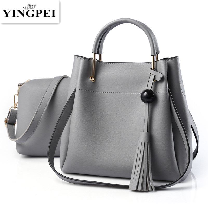 YINGPEI Women Shoulder Bags For High Quality Casual Totes Solid Top-Handle Composite Bag Tassel Soft Open Shopping Gifts Fashion