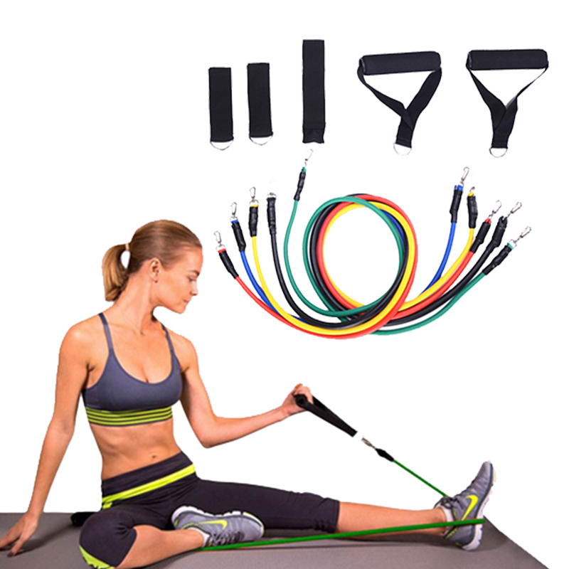 11 pz/set Tubi Tirare La Corda di Fitness Esercizi Bande di Resistenza Tubi In Lattice Pedale Excerciser Body Training Workout Yoga Crossfit