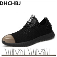 2019 men Fashion Safety Shoes Breathable flying woven Anti smashing steel toe caps Anti piercing fiber mens work Shoes