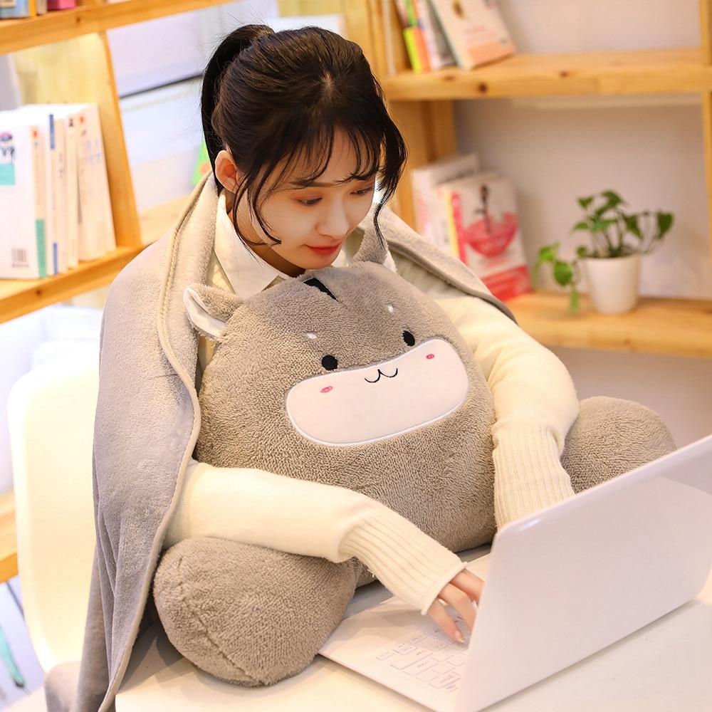 Beautiful Cute Cartoon Lumbar Pillow With Nap Blanket Soft Plush Cushion Stuffing Animal Shaped Hamster Cat Kawaii Pillow Toy Girls Gifts