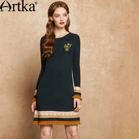 Artka Autumn Women S Dress 2017 Patchwork Embroidery Dress Women Long Sleeve Sweater Dress Slim Elegant