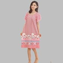 Summer Loose Large Size Nightgowns For Women Long Cartoon Girls Nightwear Nightdress Cotton And Silk Sleepshirt XXL E0005