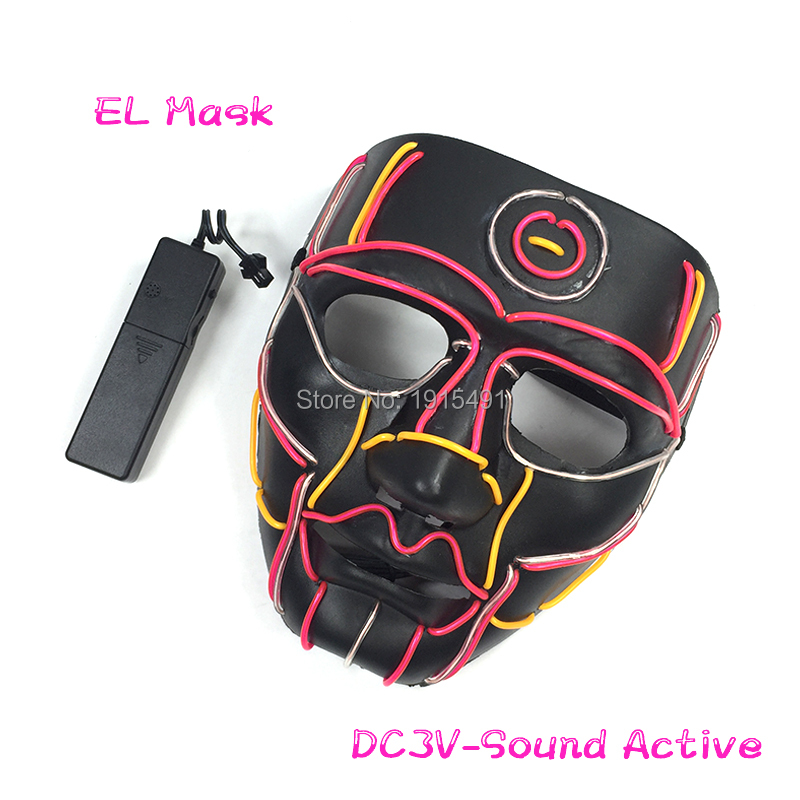 The Style Of Robot Monster Rave Costume EL Cold Light Fancy Dress Accessory Mask Hockey Festival Party Supplies Holiday Lights