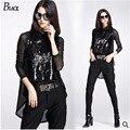 Estación de europa Brand design negro 2015 otoño nueva moda de las mujeres encaje T-shirt 2 sets lentejuelas chaleco + de manga larga T-shirt 2 pieza