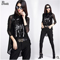 Europe station Brand design black 2015 autumn new women fashion lace T-shirt 2 sets sequined vest + long-sleeved T-shirt 2 piece