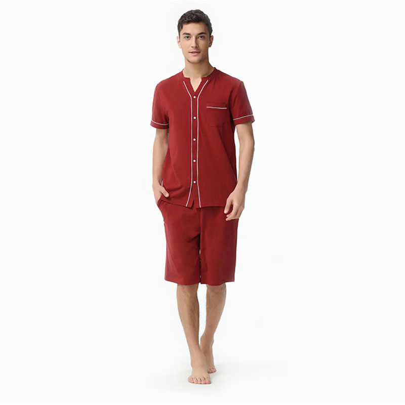 Good Prices forefront of the times newest style V neck summer buttons modal wine red boyfriend style tshirt pyjamas women  couple new design 2 pieces set sexy nightwear
