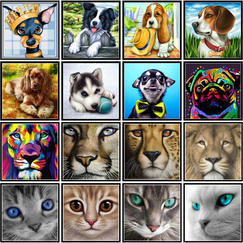 5D DIY Full Circle Diamond Painting Painted Dog Cartoon Animal Cat Mosaic Embroidery Animal Lion Cross Embroidery