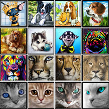 5D Diy Penuh Circle Berlian Lukisan Dicat Anjing Kartun Hewan Kucing Mosaik Bordir Animal Lion Cross Bordir(China)