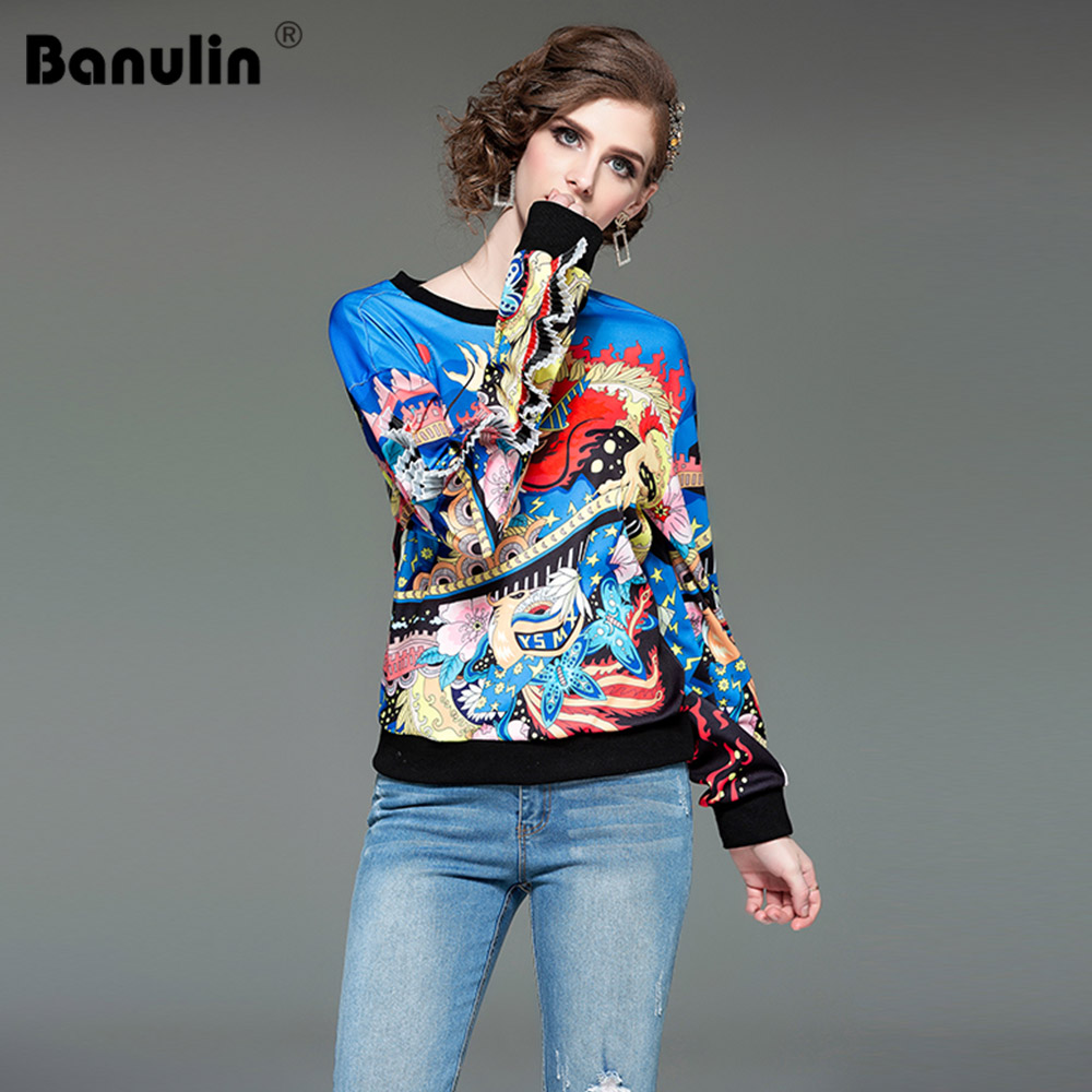 Banulin Gorgeous Printed Pullover Sweatshirt Women Clothes 2019 Spring Summer Womens Fashion Clothing Female Casual Pullovers