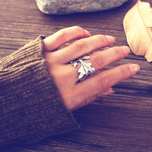 S925Silver Cute plant of Ginkgo leaf rings for lady gift Beautiful Europe Ginkgo leaves rings for women made by copper ring bulk