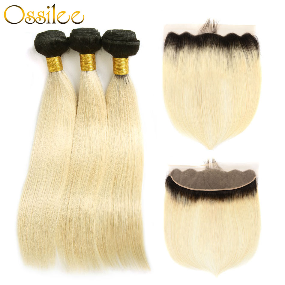 Ossilee Blonde Bundles with Closure 1B/613 Straight Hair Bundles With Frontal Closure Pe ...