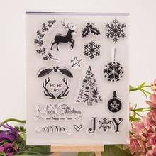 Новый Рождество Снежинка Дерево Прозрачные Штампы Силиконовые Уплотнения для DIY Скрапбукинг Карты