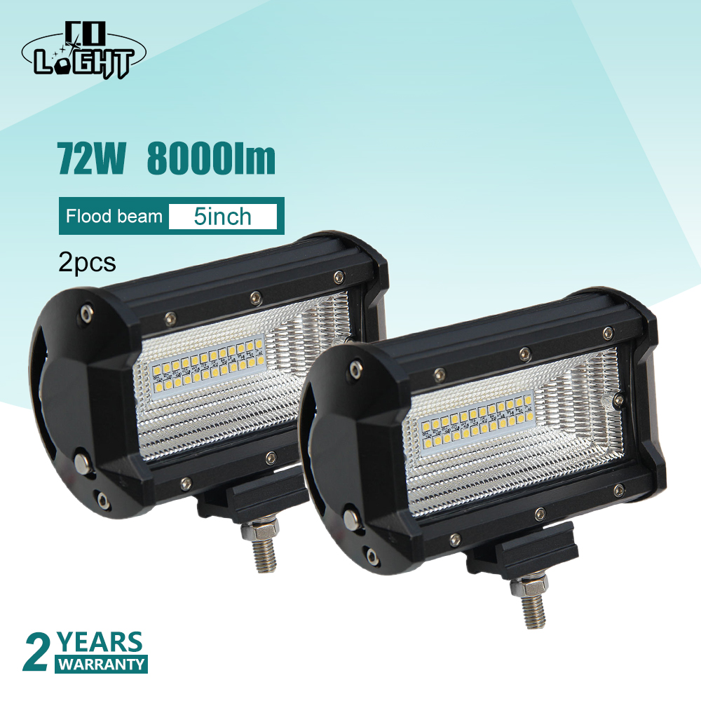 CO LIGHT 1 Pair Led Light Light Work 12V 5 '' Offroad 4X4 Led Auto 72W Flood 8000Lm për Suv Tractor Kamaz Lada Niva Kalina Granta ATV