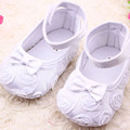 Fashion Rose Flowers Baby Girl Crib Shoes/Cute Bow Tie Newborn Baby Girl Shoes/Recem Nascidoa Size 2-5.5