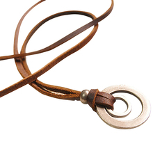 Men's Women's Brown Double Pendant Adjustable Leather Cord Chain Necklace