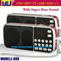 Envío libre L-088 reproductor de mp3 mini altavoz reproductor de música mp3 con radio fm y linterna LED apoyo TF/USB/AUX/auricular