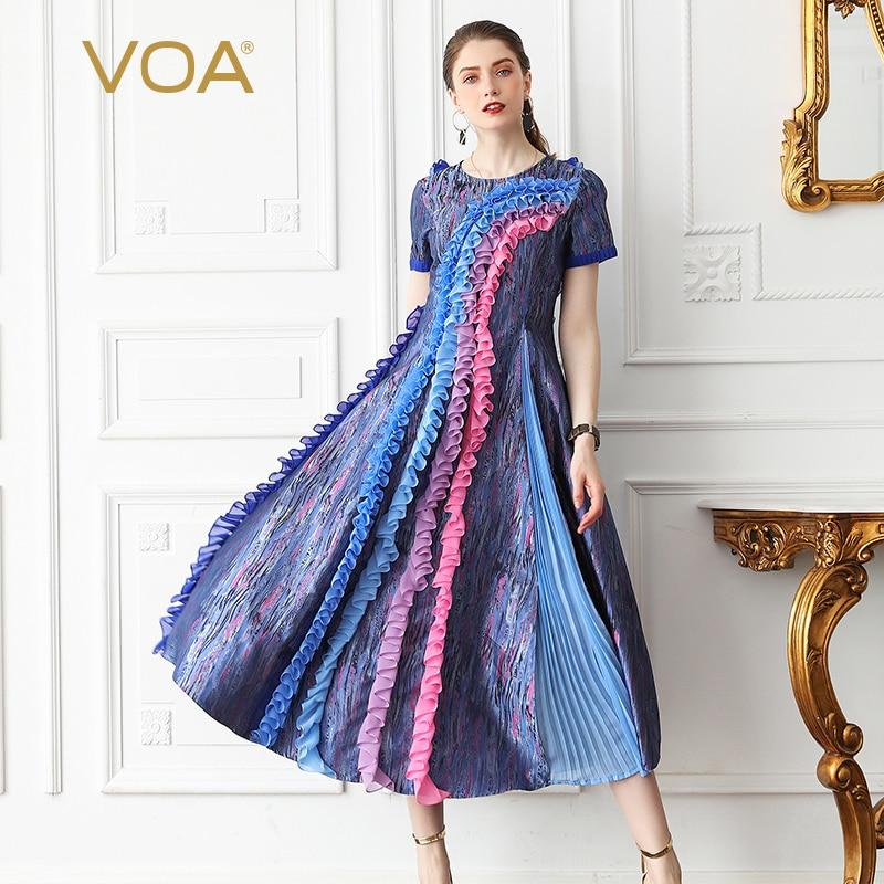 VOA de fiesta seda vestido largo vestidos de las mujeres Slim de cintura alta Vintage elegante Kawaii Boho Plus tamaño 5XL de verano de manga corta a629