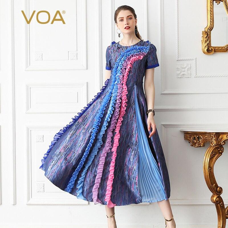 Voa шёлковый вечерние платье длинные платья Для женщин Высокая Талия Тонкий Винтаж элегантный Kawaii Boho Плюс Размеры 5XL летние шорты рукавом A629