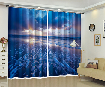 Beach Landscape In The Evening High-precision Shade 3D Curtain for Living Room or Hotel Drapes Cortians