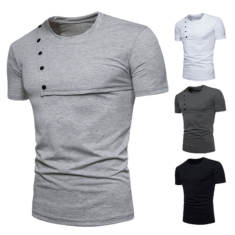 Fashion tshirts Men Casual Cotton Tops Button Round Neck Short sleeve Sleeves Slim T-shirt mens clothing 4 colour