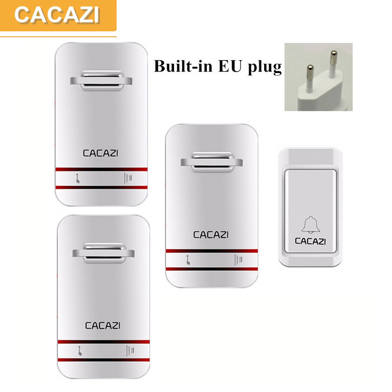 CACAZI no battery doorbell,1 transmitter+3 receivers,38 chime,3 voluem,US/UK/EU plug,120 M remote self-powered wireless doorbell cacazi ac 110 220v wireless doorbell 1 transmitter 6 receivers eu us uk plug 300m remote door bell 3 volume 38 rings door chime