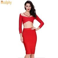 Vrouwen volledige mouw 2 tweedelige jurk 2 stuks set bandage jurk rood wit geel blauw roze oranje winter feestjurk HL405
