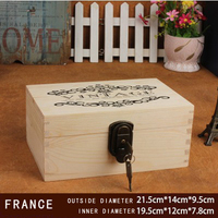 French Pattern Pen Pencil Case Organizer Wooden Case Gift Box Independent Lock And Key White European