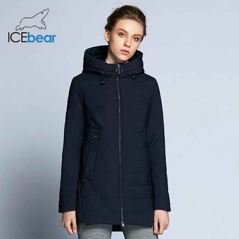 ICEbear 2019 new women jacket spring padded long pocket design fall warm coat fashion brand women's fashion  jackets GWC18129D