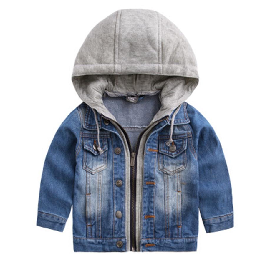 Новый Повседневное Весенняя детская одежда Джинсовая куртка для мальчика с капюшоном поддельные из двух частей для маленьких мальчиков Дж...