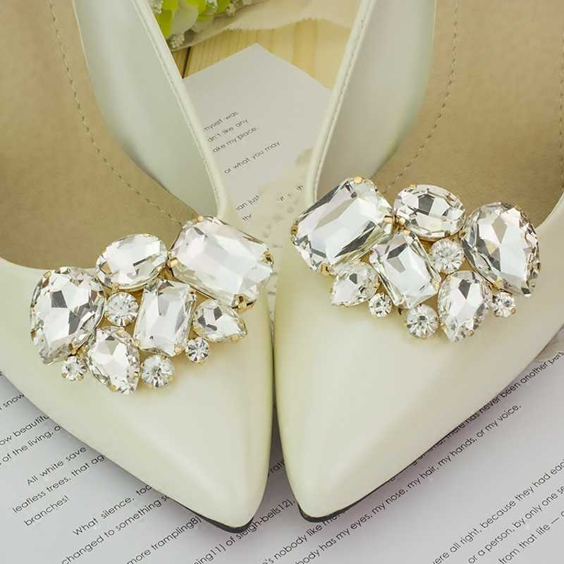 b4c5bbde51893 KLV 1 Couple Cargo free lady color flower shoe buckle Strass crystal  decorations clips shoe charms accessories