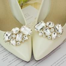 KLV 1-par Fraktfritt damfärg blomsterskosspänne Strass kristalldekorationer klips sko tillbehör