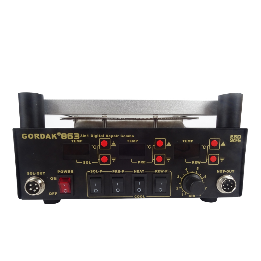 Gordak 863 Digita Hot Air Heat Gun BGA Rework Solder Station+Electric Soldering iron+IR Infrared Preheating Station