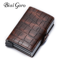 Bisi Goro 2019 PU Leather Credit Card Holder New Aluminium Double Box Men And Women Metal RFID Vintage Travel Wallet
