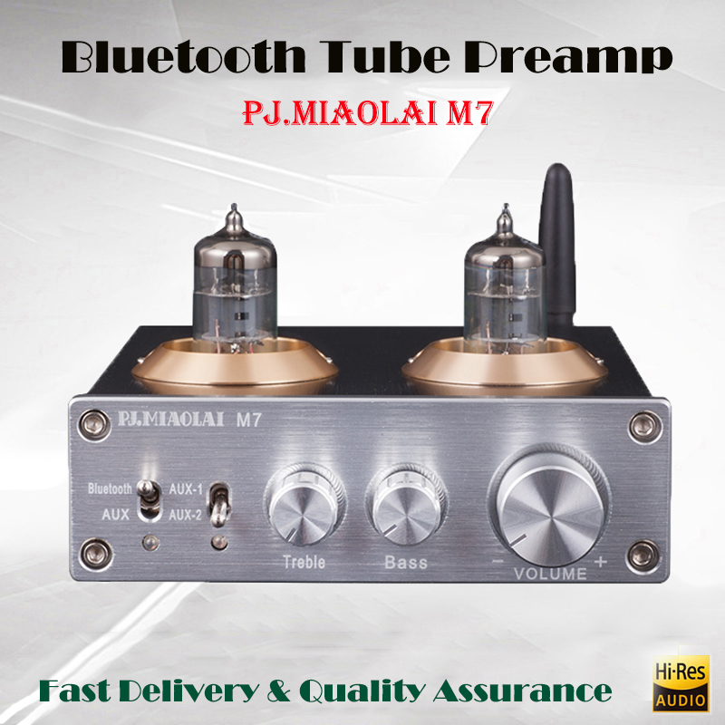 PJ.MIAOLAI M7 Stereo Subwoofer Power Amplifier Hi fi Vacuum Tube Amplifier CSRA64215 Bluetooth Mini Amp Tube Preamp Amplificador