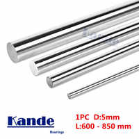 Kande Bearings 1pc d: 5mm 3D printer rod shaft linear shaft chrome plated rod shaft CNC parts 600 650 700 800mm