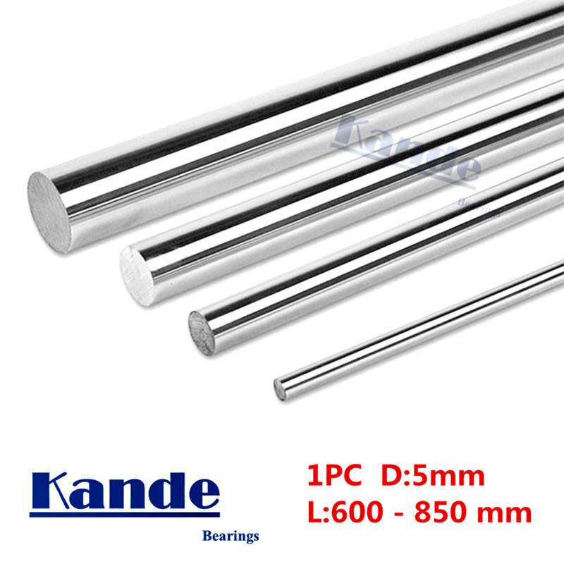 Kande Bearings 1pc d: <font><b>5mm</b></font> 3D printer <font><b>rod</b></font> <font><b>shaft</b></font> linear <font><b>shaft</b></font> chrome plated <font><b>rod</b></font> <font><b>shaft</b></font> CNC parts 600 650 700 800mm image
