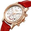 2016 nuevas Mujeres del reloj de cuarzo de Zafiro resistente al agua relojes de pulsera marca original GUANQIN señora vestido de diamantes relojes